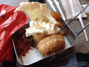 A bread loaf filled with veggies from Bunnychow in London