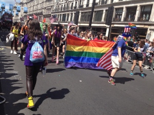 US Embassy marching group at the London Pride Parade