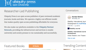 Screen Shot, Ubiquity Press Home Page